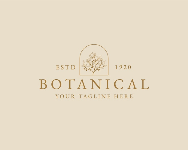 Logo botanique floral minimal de beauté féminine dessiné à la main pour la marque de soins capillaires de la peau du salon de spa