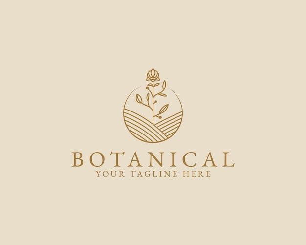 Logo Botanique Floral Minimal De Beauté Féminine Dessiné à La Main Pour La Marque De Soins Capillaires De La Peau Du Salon De Spa Vecteur Premium