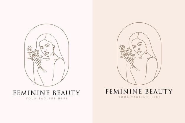 Logo botanique de visage de beauté florale de femme féminine pour la marque de soins de cheveux de peau de mode de salon de spa
