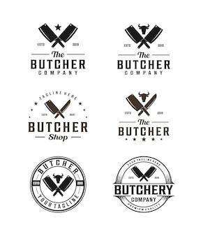 Logo de boucher avec couperet et silhouette de tête de vache