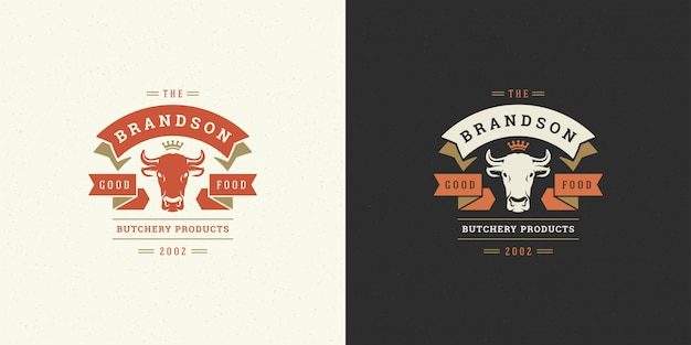 Logo de boucherie illustration vectorielle tête de vache silhouette bon pour badge de ferme ou de restaurant