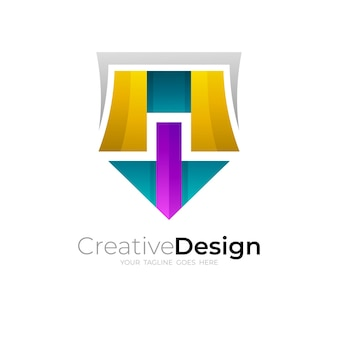 Logo de bouclier abstrait avec un design simple