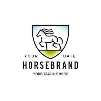 Logo de bouclier de cheval sauvage