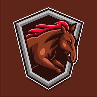 Logo de bouclier de cheval