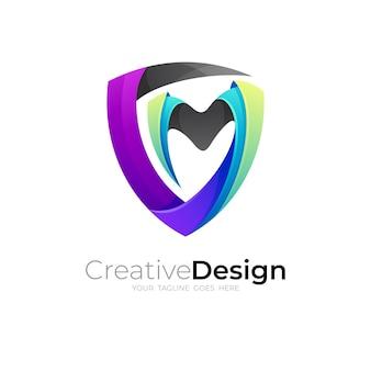 Logo de bouclier et combinaison de conception de lettre m, icônes de sécurité