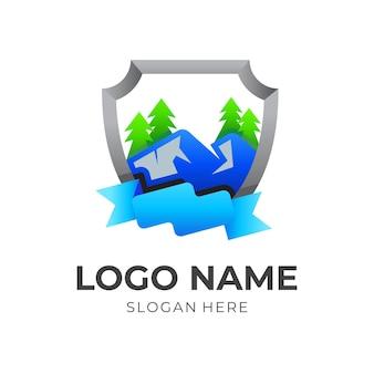 Logo de bouclier avec combinaison de design de montagne, style moderne