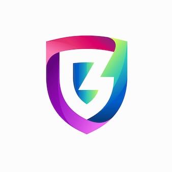Logo de bouclier avec le concept de la lettre b