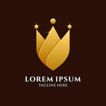 Logo de bouclier et couronne isolé sur marron