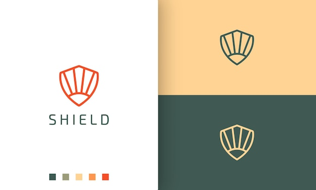 Logo de bouclier ou de défense en ligne mono simple et style moderne