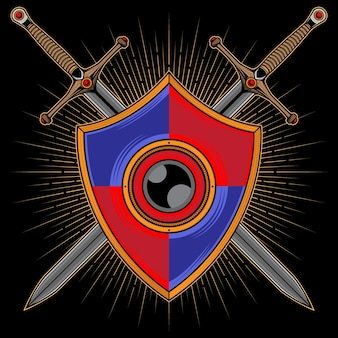 Logo De Bouclier Et D'épée Vecteur Premium