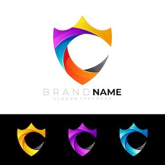 Logo de bouclier avec l'icône colorée de modèle de conception de lettre c