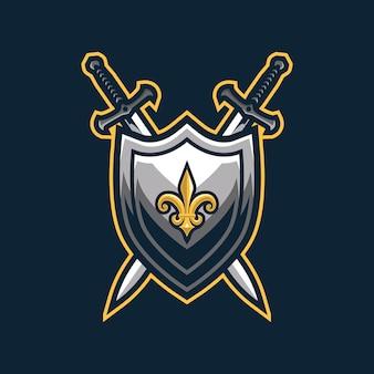 Logo de bouclier médiéval