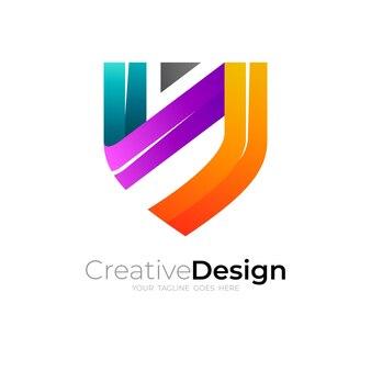 Logo de bouclier et modèle de conception coloré, style coloré