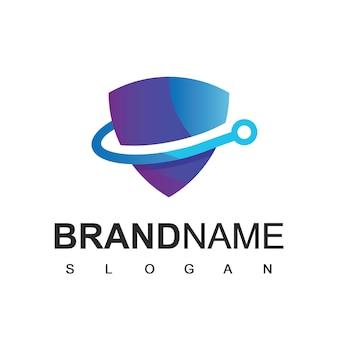 Logo de bouclier, modèle de conception d'icône cyber secure