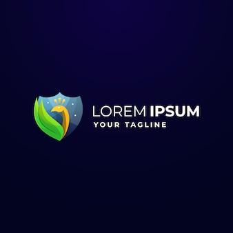 Logo bouclier paon