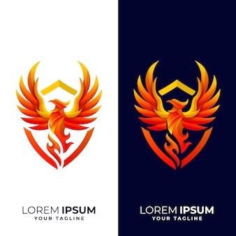 Logo de bouclier de phoenix