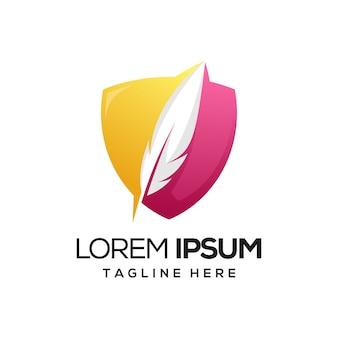 Logo de bouclier de plume