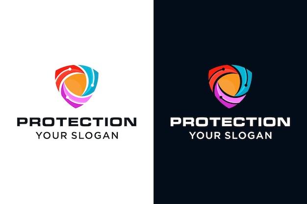 Logo de bouclier techno moderne, ordinateur technologique et bouclier
