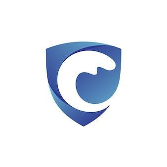 Logo bouclier vague