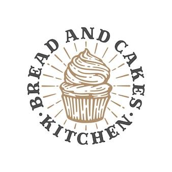Logo boulangerie de cupcakes en illustration vintage doodle, modèle de pain et de gâteaux d'étiquette.