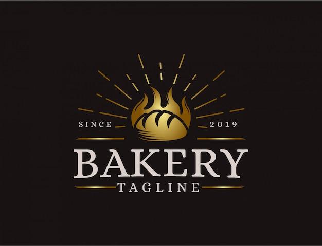 Logo de boulangerie emblème hipster rétro vintage