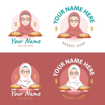 Logo de boulangerie avec une fille hijab comme mascotte