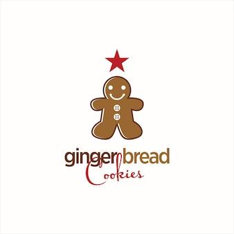 Logo de boulangerie de noël de biscuits de pain d'épice