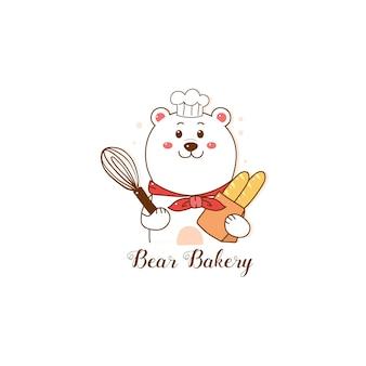 Logo de boulangerie ours mignon mignon dessiné à la main.