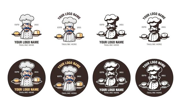Logo boulangerie et pâtisserie avec chef aux cheveux bleus comme mascotte