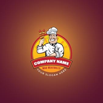 Logo de boulettes de viande de chef
