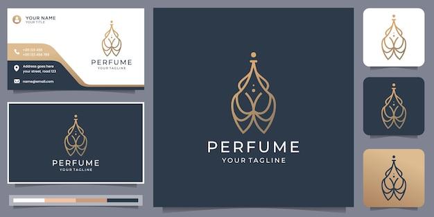 Logo de bouteille de parfum minimaliste créatif avec inspiration de conception de carte de visite pour votre entreprise.