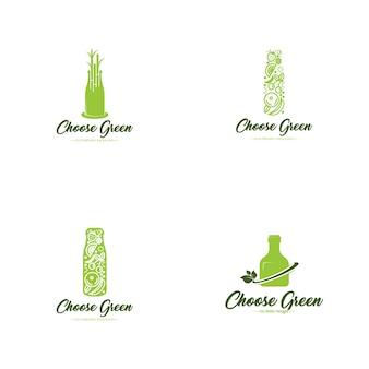 Logo de bouteille verte