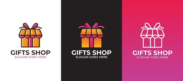 Logo de boutique de cadeaux moderne avec trois variantes
