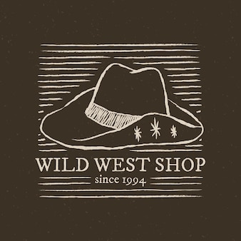 Logo de la boutique du far west sur fond gris foncé avec illustration de chapeau de cowboy