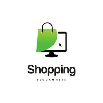 Logo de la boutique en ligne conçoit le modèle, l'ordinateur et le logo du sac à provisions vector illustration