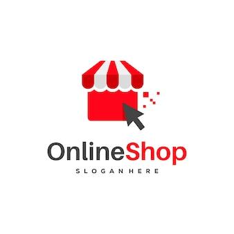 Le logo de la boutique en ligne conçoit le vecteur de concept, les conceptions de logo de la boutique en ligne