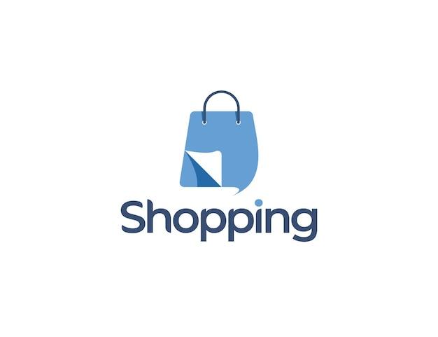 Logo de boutique en ligne moderne avec illustration de sac à provisions