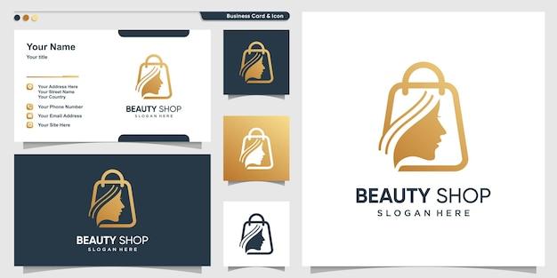 Logo de la boutique pour l'équipement des femmes avec un style doré de beauté vecteur premium