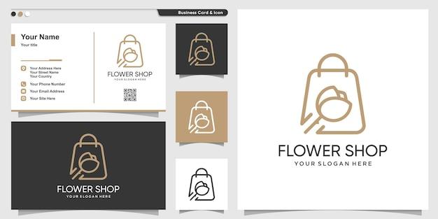 Logo de la boutique avec un style d'art de ligne de fleur de beauté et un modèle de conception de carte de visite vecteur premium