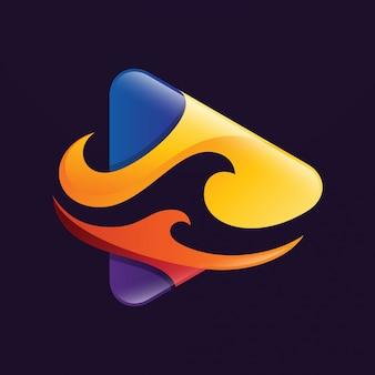 Logo de bouton de lecture abstraite