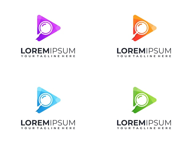 Logo de bouton de lecture coloré avec concept d'icône de recherche
