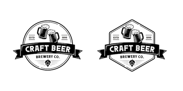 Logo de brasserie de bière vintage. insigne, étiquette, modèle d'inspiration de conception d'emblème