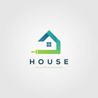 Logo de brosses de maison de peinture colorée