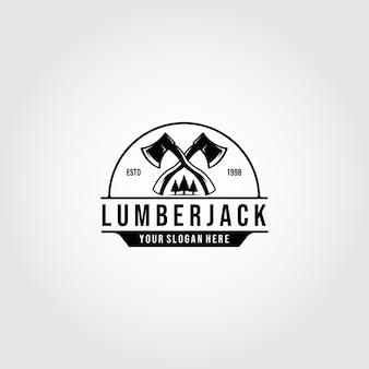 Logo de bûcheron croisé haches vector illustration design emblème