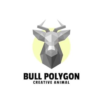Logo bull polygone dégradé style coloré