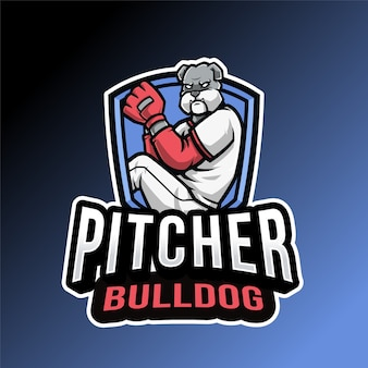 Logo bulldog pitcher isolé sur bleu et noir