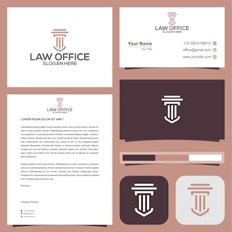 Logo de bureau d'avocat avec carte de visite