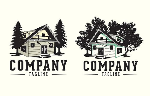 Logo de cabine avec arbre pour les entreprises de maisons et la conception de la construction