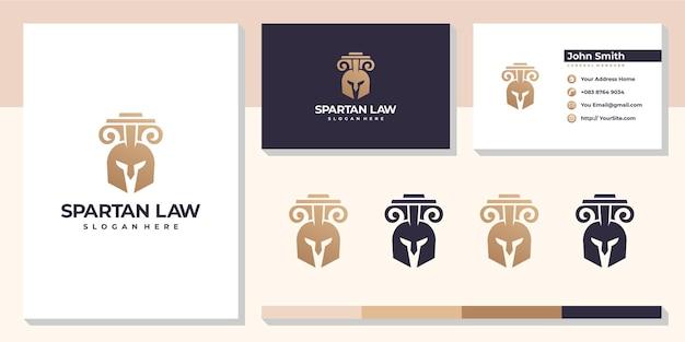 Logo de cabinet d'avocats spartiate avec modèle de carte de visite