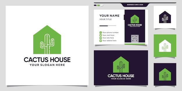 Logo cactus et maison avec concept créatif et conception de carte de visite vecteur premium